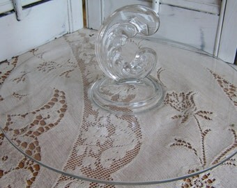 Vintage Fostoria Sonata Plume Center Handle Serving Glass Plate Tray Classic Style Sandwich Plate Tid Bit Tray Dessert Dish