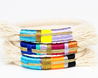 Rope Bracelet, Rope Statement Bracelet, Bangle Bracelet, White Rope Bracelet, Colorful Thread Wrap Bracelet