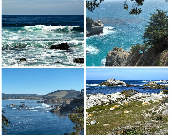 SEASCAPE Greeting Cards by Pam's Fab Photos, a 4-piece assorted set featuring the Central California Coast