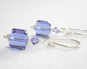 Tanzanite Cube Earrings, Purple Beaded Drop Earrings, Lavender Swarovski Crystal Jewelry, Silver Dangle Earrings, Jewelry Gift for Her