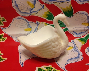 Vintage Imperial milk glass swan candy dish or container