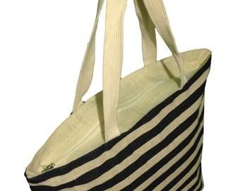 Burlap Beach Bag w/ Stripes Ivory/Navy 21 X 13.5 X 5.5