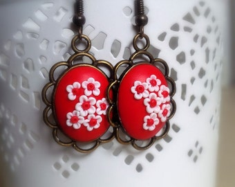 Red and White Filigree Flower Earrings made from Polymer clay