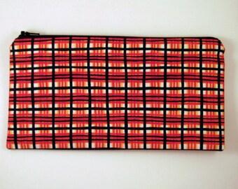 Orange and Black Plaid Zipper Pouch, Pencil Case, Pencil Pouch, Make Up Case, Gadget Bag