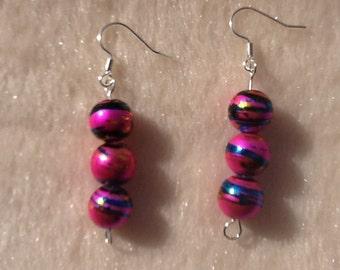Pink Bead Earrings, Pink Bead Jewellery, Pink Drop Earrings, Pink Dangly Earrings, Gifts for Her, Jewellery for Her, Splatter Earrings