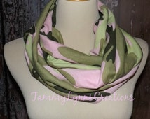 Pink Green Camo Scarf Camouflage Fashion Infinity Scarf Hunting Duck Dynasty Women's Accessories