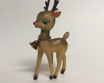 Christmas Kitsch Reindeer, Soft Plastic Rubber Kitsch Deer with Bell