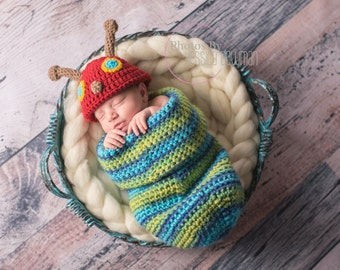 Crocheted Yarn Newborn Photo Prop Hungry Caterpillar sack and Hat Set Handmade by me