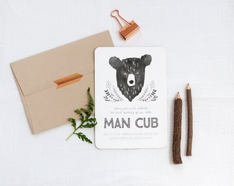 Printable Man Cub Birthday Invitation - Bear Invitation