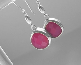 Shocking Pink Chacedony Earrings