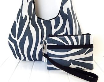 Hobo Bag ON SALE Fabric Hobo Bag, Handmade Fabric Bag, Zebra Stripe Bag, Zebra pattern fabric Bag, Zebra Print Bag, Wristlet Pouch