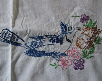 Vintage Embroidered Tablecloth -  Birds