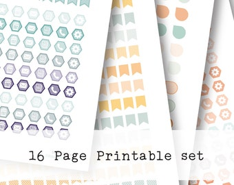 Inkwell Press Planner & other planners Mini Flags, Icons Printable Sticker Kit - Instant Download