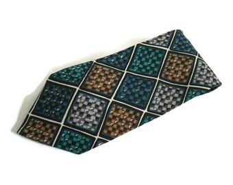 Mens Necktie Geoffrey Beene, All Silk Fabric, Hand Made in Italy Vintage Neck Tie Fashion Accessory Multi Color Tie Turquoise Navy Dry Clean