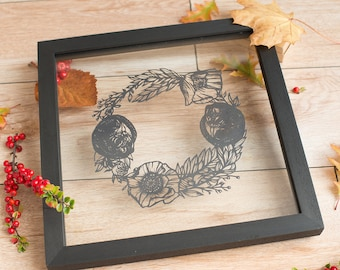 Sleeping field mice with poppies and seeds original handcut paper art