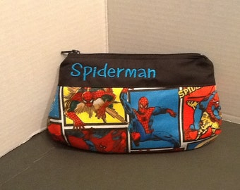 Personalized make up bag in 3 sizes made with Spiderman fabric in your choice Of fabric