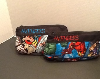 Personalized make up bag in 3 sizes made With Avengers fabric  in your choice Of fabric