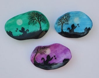 Cat Painting on Shell Magnet: Cat Magnet, Hand Painted Shell, Shell Magnet, Cat Art, Shell Art, Cat Butterflies Moon Tree Painting on Shell