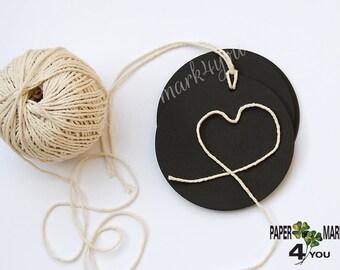 25  Tags Large Black Circle_DIY Gift Tags_Large Die Cut Circles_ DIY Banner_DIY Garland