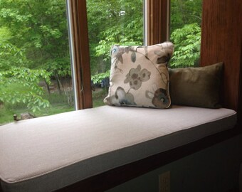 "Custom - Made to Order Indoor Bay Window Boxed Seat Cushion Cover 56""x30""x4"" in your choice of fabric easy removal zipper opening easy care"