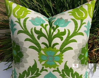 Indoor Outdoor Waverly Sun N Shade Santa Maria Mint Julep Pillow Cover with solid color backing fabric and Zipper