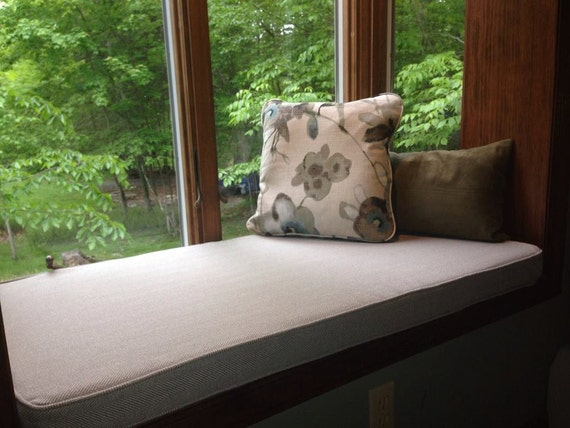 Custom made to order indoor bay window boxed seat cushion - Indoor window seat cushions ...