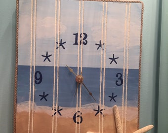 Coastal Clock- hand painted