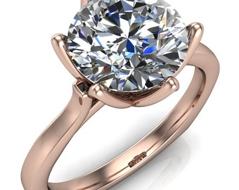 Adalyn Round Moissanite Cathedral 6 Petal Prong Engagement Ring