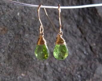 Peridot Earrings - August Birthstone - 14 carat gold filled