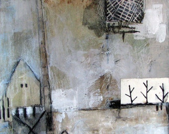 """Upcycled original modern acrylic painting on reclaimed plywood approx. 7"""" x 9"""" with houses, greys and black"""