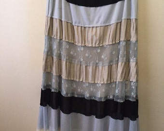 Vintage tiered bohemian lace and mesh maxi skirt gypsy traveller hippie chic fantastic