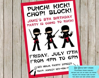 Ninja party invitation (and FREE thank you note!)