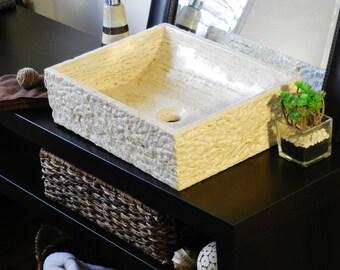 Natural Stone Rectangle Sink BeigeTravertine marble rustic chiseled Bathroom vanity