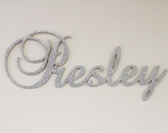 Hanging nursery letters, nursery letters, baby girl nursery letters, pink, gray, white, nursery decor, nursery wall letters GLITTERED