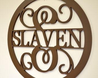 Wooden Monogram - Unpainted Wood Monogram - Family Name Monogram - Wedding Gift - Housewarming Gift - Personalized Door Hanger - Wooden Name