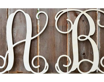 SALE!!! - Two 24 Inch Wooden Monograms - Unfinished Wood Monogram - Monogram Door Hanger - Wedding Monogram Initials- Wooden Letters, Wood