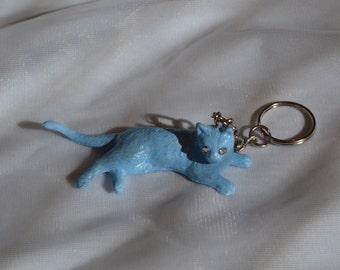 Customised blue glitter kitten keyring