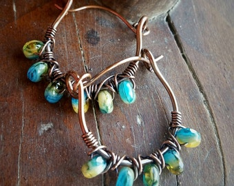 Wire-wrapped Copper Hoop Earrings in Blue and Yellow -  Rustic Hoop Earrings - Copper Earrings