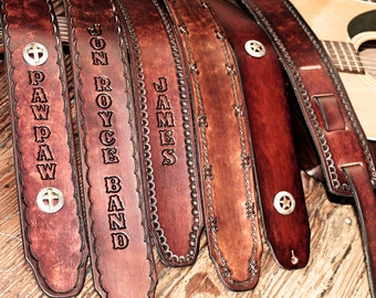 Personalized GUITAR STRAP, Leather Guitar Strap, Handtooled leather,  Musician gift, Made in the USA, Name or Initials Engraved Free!