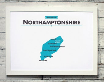 Northamptonshire County Map | # poster, vintage, retro, print