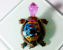 Turtle Hand Painted Pink Yellow Blown Glass Art Gold Trim Figurine Sea Ocean Animal Collection/Gift/Home Decor