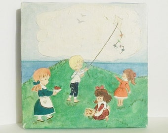 Kids Playing Painting on Canvas Childrens Home Decor Wall Art