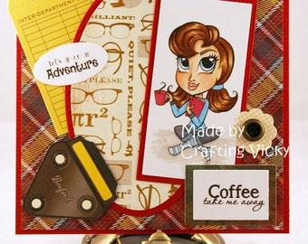 Coffee book card, Handmade, Handcolored, book, Coffee, Adventure, Thinking of you