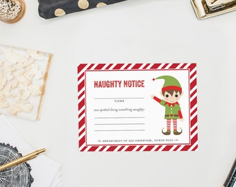 Naughty Notice from the North Pole, Elf Observers, Naughty List Santa's  Elves Christmas,