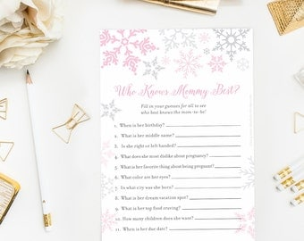 Winter Baby Shower Who Knows Mommy Best Game, Pink Girl Winter Wonderland, Little Snowflake Baby It's Cold Outside, How Well Do You Know Mom