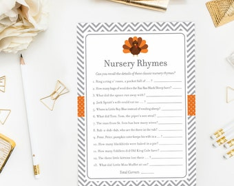 little turkey nursery rhyme game baby shower games fall baby shower mother