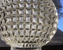 Clear Pressed Glass Waffle Pattern Light Shade Cover Globe