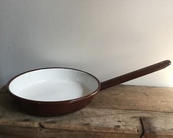 Brown and White Enamel Cooking Pan Poland