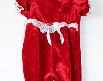 Vintage baby Jumper. Red Velvet, Violet Rose jumper for 6-9 Mo