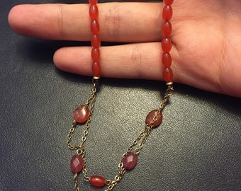 """16"""" Vintage chalcedony beads necklace, gold over 925 silver chain"""